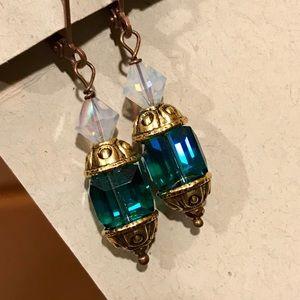 SWAROVSKI Indicolite teal cube earrings